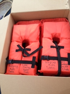 First shipment of loaner life jackets.