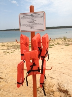 All the swim areas at Lake Murray now have these loaner life jackets available. Park Rangers monitor the poles and keep